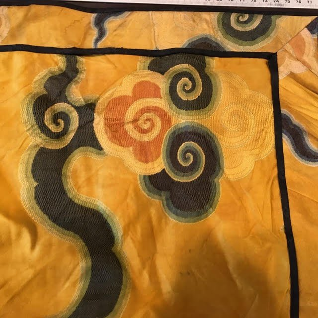 Antique chinese silk panel with lucky cloud pattern - 7