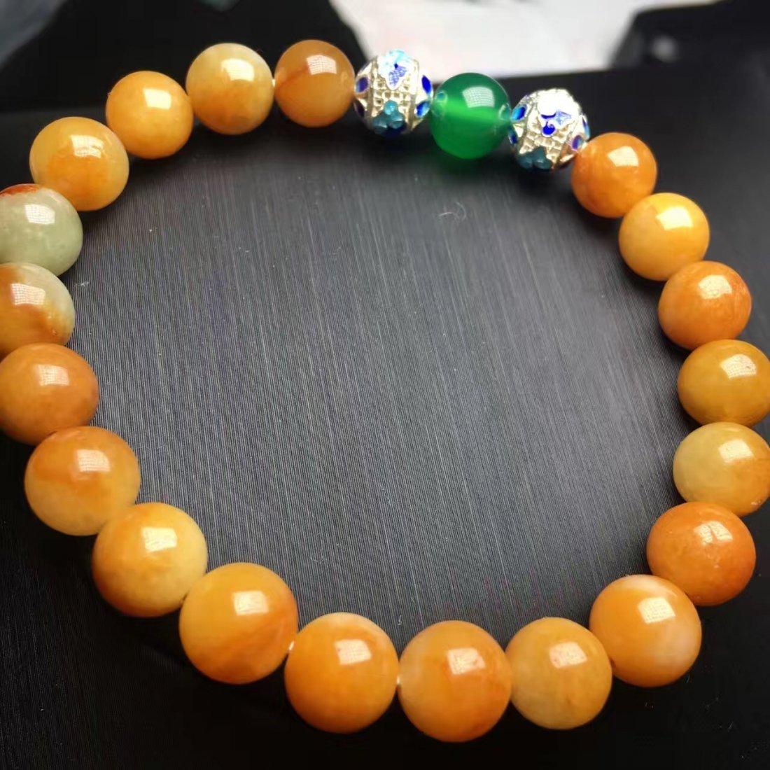 Natural Yellow Jadeite Bead Bracelet - 2