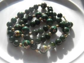Vintage Natural Green Nephrite Green Jade Necklace
