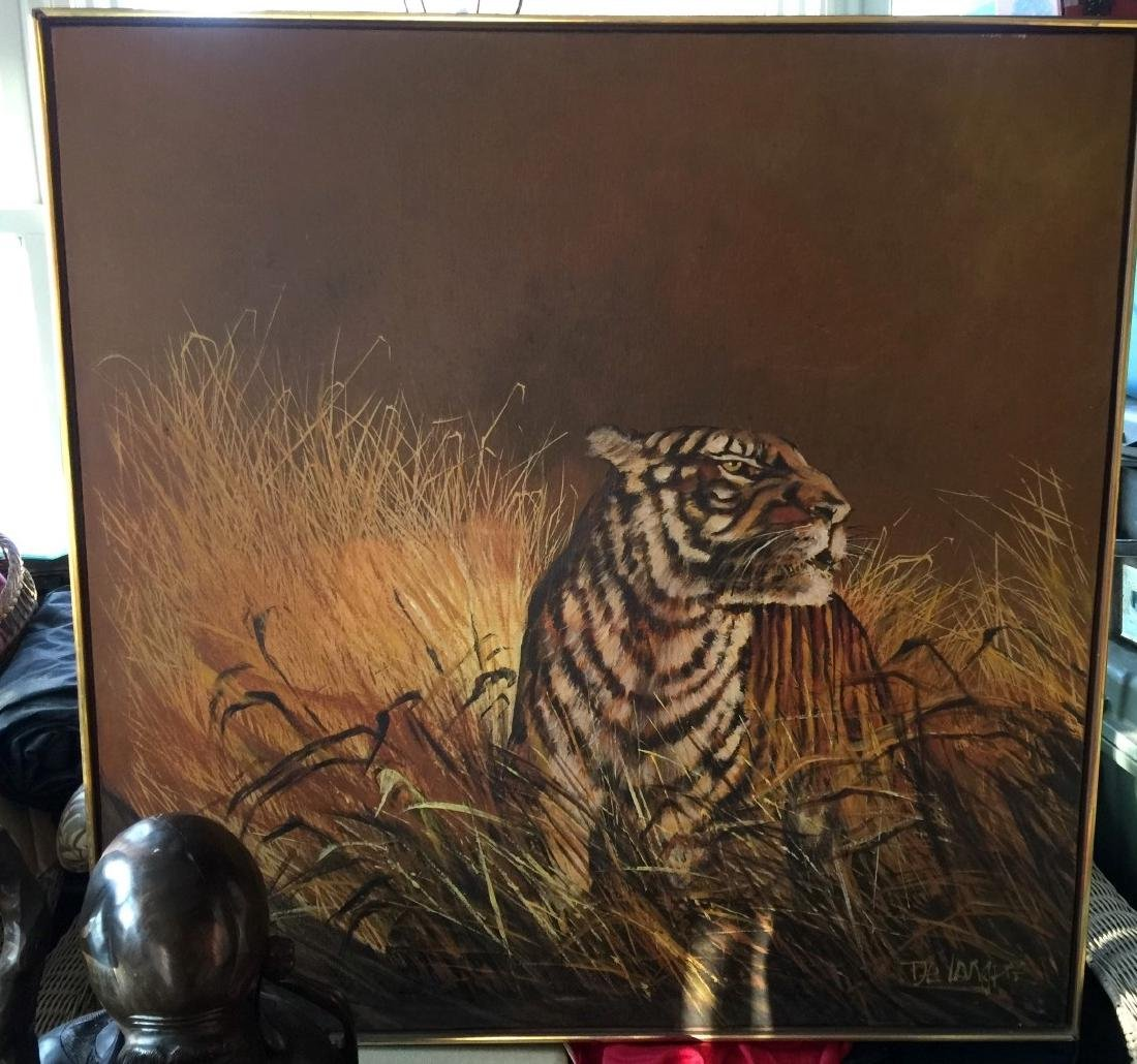 Vintage Tiger Oil Painting Marked