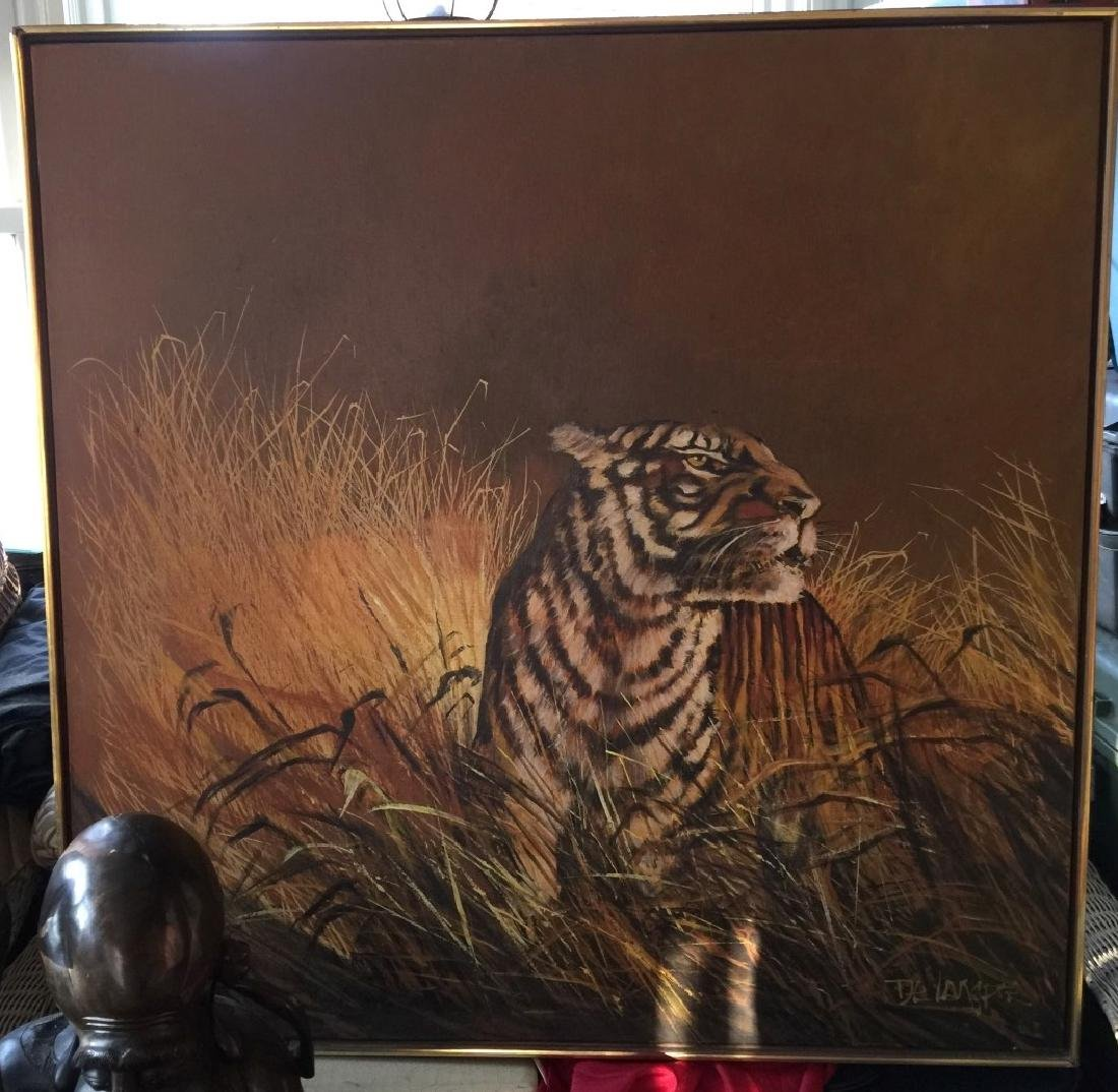 Vintage Tiger Oil Painting Marked - 2
