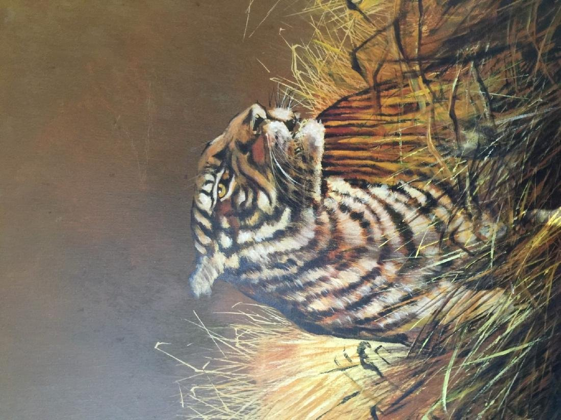 Vintage Tiger Oil Painting Marked - 3