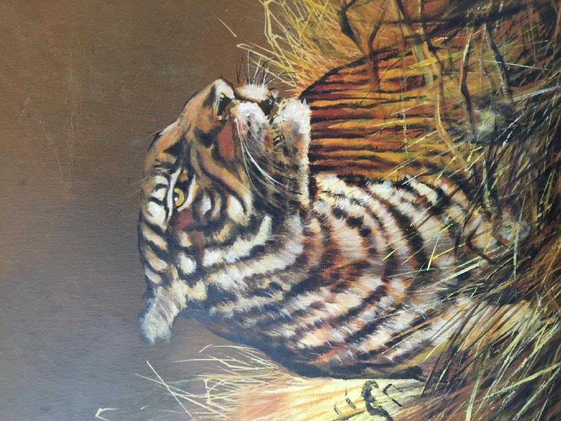 Vintage Tiger Oil Painting Marked - 4