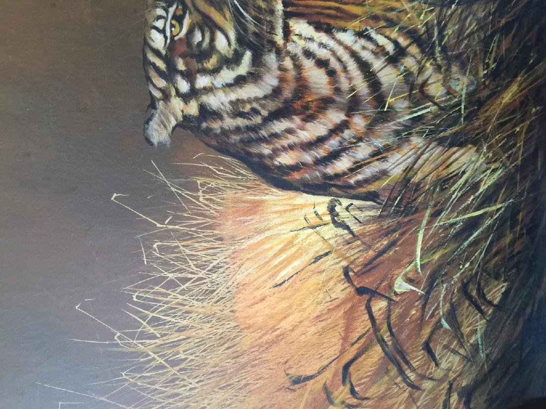 Vintage Tiger Oil Painting Marked - 6
