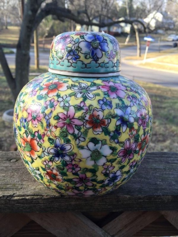 Antique Chinese Enamel Flower Pot with Lid