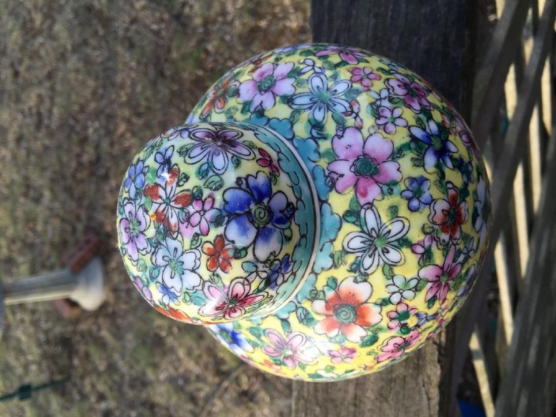 Antique Chinese Enamel Flower Pot with Lid - 2