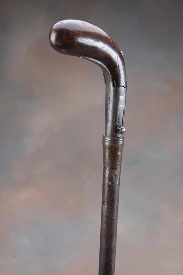 Early Shotgun Cane with percussion side hammer and fold
