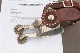 Pair of Bayers double mounted Spurs with letter from