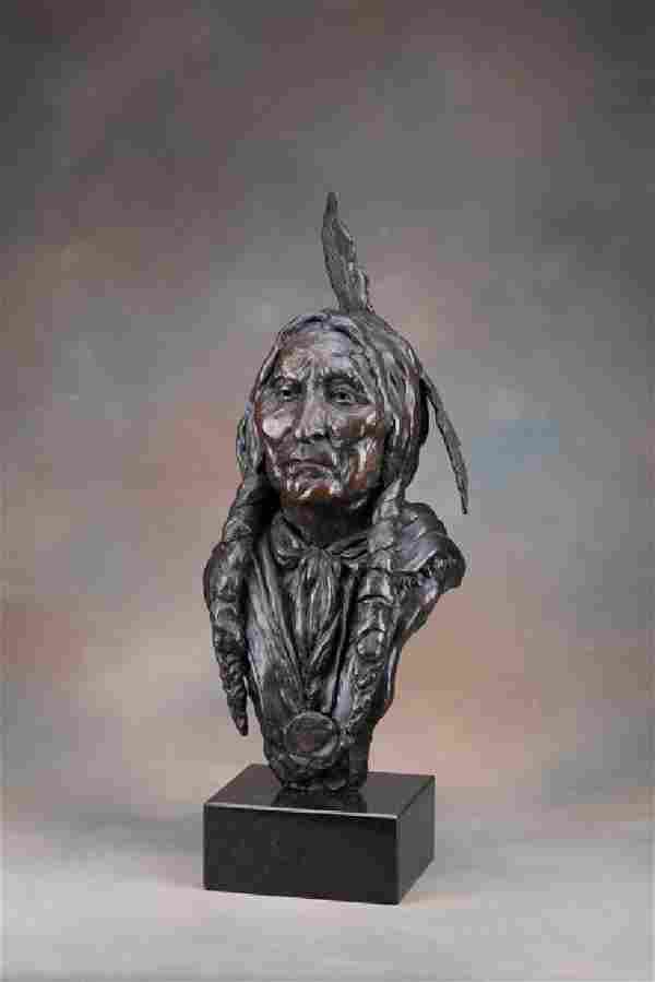 """Larger than life solid Bronze of """"Wolf Robe of the"""