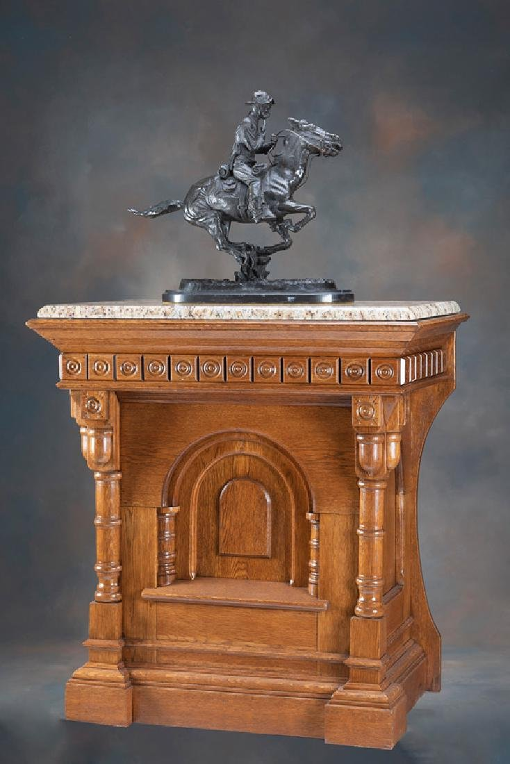 Antique oak Pedestal with polished granite top, with