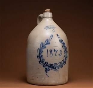 "Salt glaze ""4"" gallon, stoneware single handled Jug"