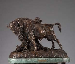 Massive standing buffalo bronze Sculpture by H.M.