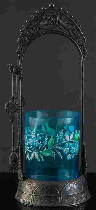 Victorian Pickle Castor with blue glass & enamel