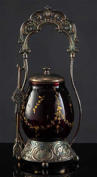 Victorian Pickle Castor with ruby red castor and gold