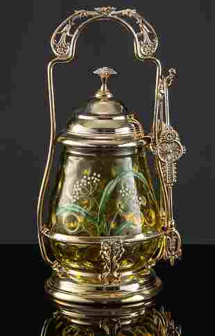 Victorian Pickle Castor with amber glass castor and