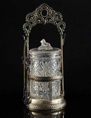 "Victorian pressed glass Pickle Castor with 11"" embossed"