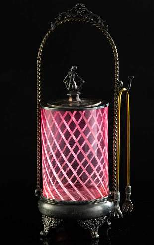 Victorian Pickle Castor on silver stand with cranberry