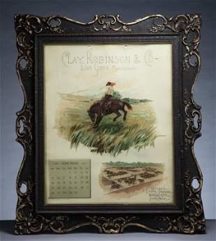 Antique framed color lithograph Advertising Calendar