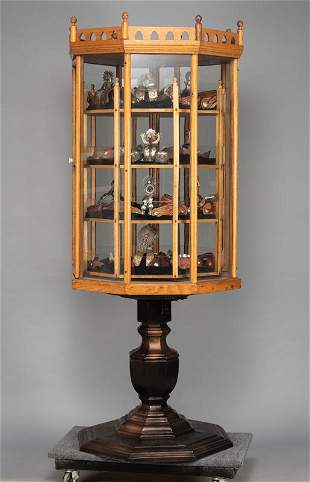 Antique country store, oak and glass revolving Display