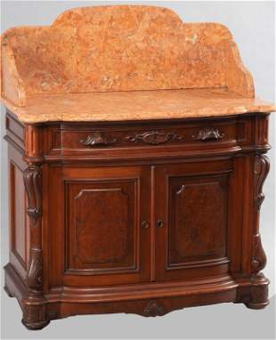 Extremely high quality burl walnut Victorian marble top
