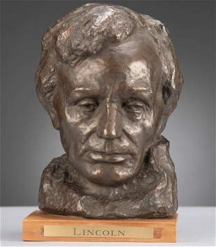 Plaster Bust of Abraham Lincoln, dated 1964, by JoAnna