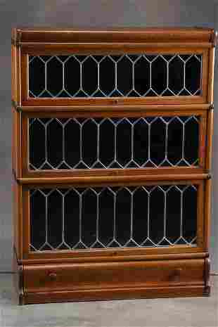 Antique oak leaded glass, three stack Lawyer Bookcase,