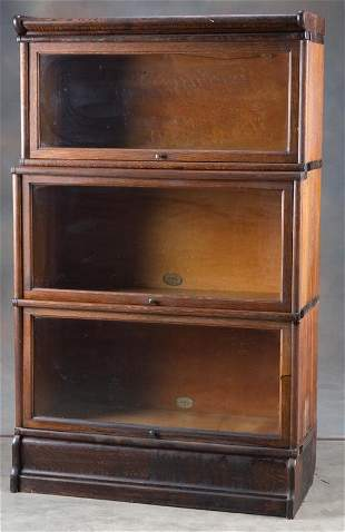 Antique three stack oak Lawyer Bookcase by