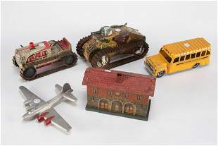 This lot consists of five, tin and aluminum vintage
