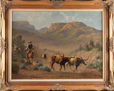 Beautiful original western Oil Painting by noted Texas
