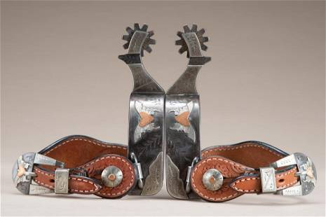 Unique pair of double mounted Spurs by noted Bit and
