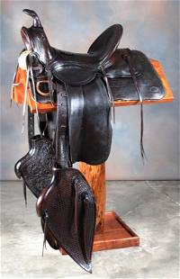 """Early loop seat Saddle marked """"P.A. Wilkerson,"""