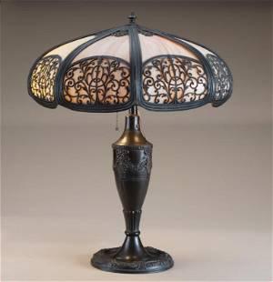 Antique bent panel, slag glass Table Lamp, circa