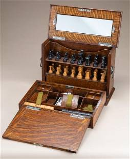 Very unique folding, traveling Checker & Chess Set in