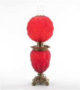 Beautiful red Victorian Gone With the Wind Oil Lamp