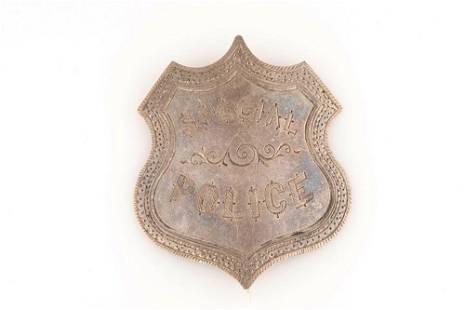 "Special Police Badge, 1 3/4"" x 1 1/2"" silver shield"