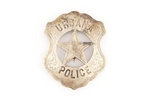 """Urbana Police Badge, shield with cut out star, 2 3/4"""""""