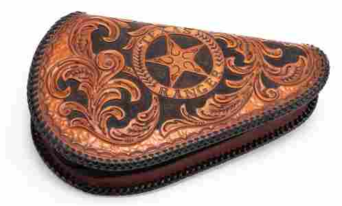 Fine hand tooled leather, Texas prison made Gun Purse