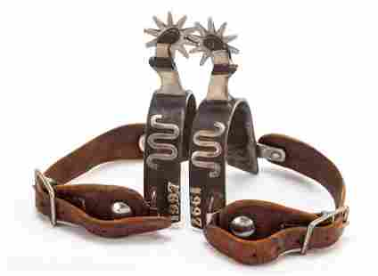 Pair of single mounted, silver mounted Spurs with the