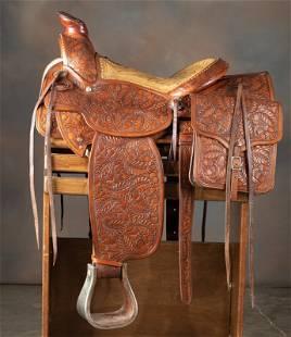 Very fine, highly tooled Saddle with matching Saddle