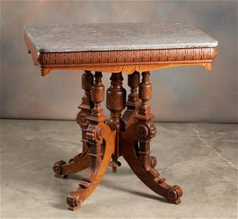 Very ornate Victorian marble top Lamp Table, circa