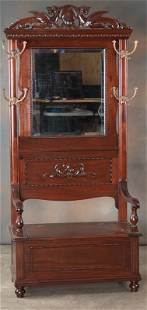 Very ornate antique, highly carved lift seat, solid