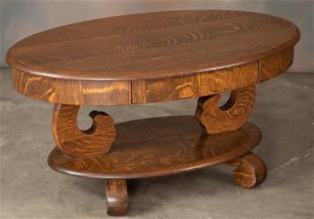 Antique, quarter sawn oak oval Coffee Table, circa