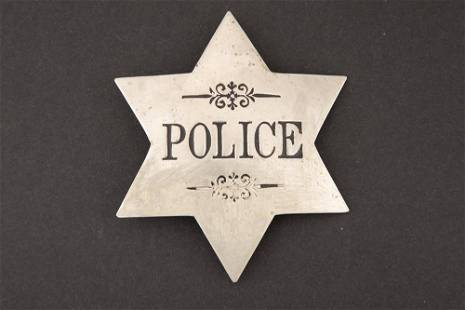 """Police Badge, stock 6 point star, 3 3/8"""" across points,"""