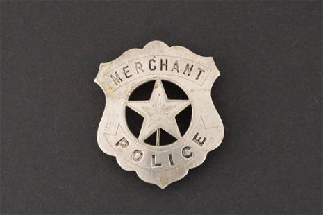 Merchant Police Badge, shield with cut out 5 point