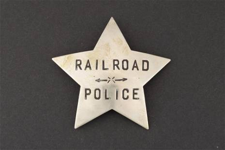 """Railroad Police Badge, 5 point star, 2 5/8"""" across"""