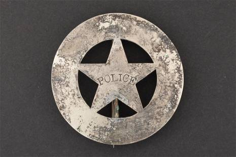 """Police Badge, circle with cut out star, 2 1/2"""""""