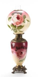 """Antique Gone With the Wind Lamp with hand painted 9"""""""