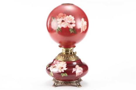 Antique Gone With the Wind Lamp, circa 1890s, red shade
