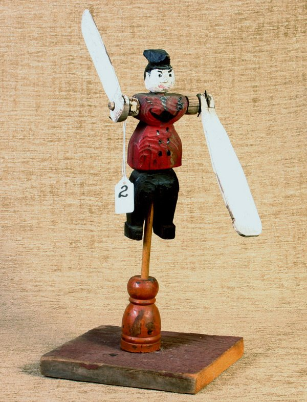 2: Early Folk Art Painted Whirly Gig, 15`` tall, retains