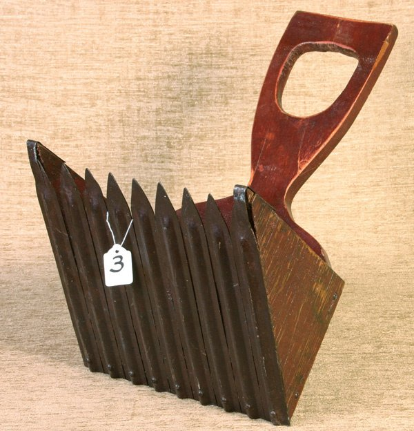 3: Early Red Painted Grass Seed Picker, wooden, retaini